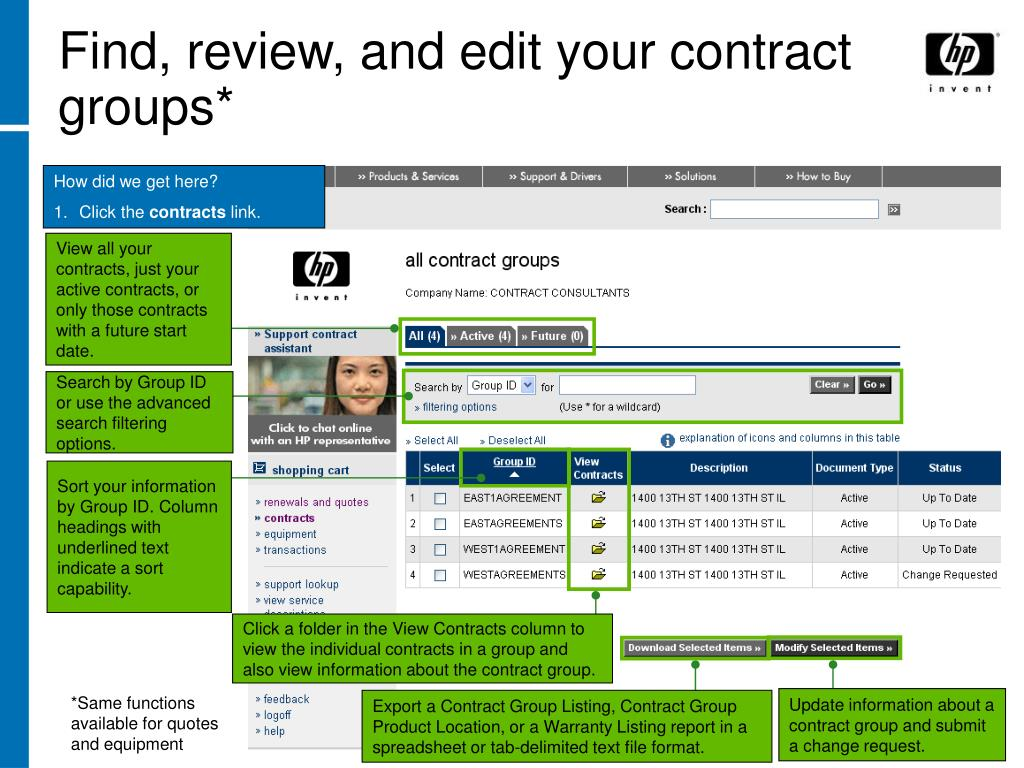 Find, review, and edit your contract groups*