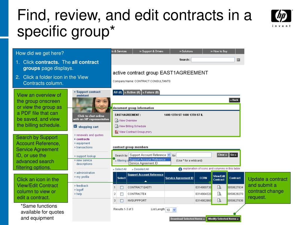 Find, review, and edit contracts in a specific group*