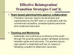 effective reintegration transition strategies cont d