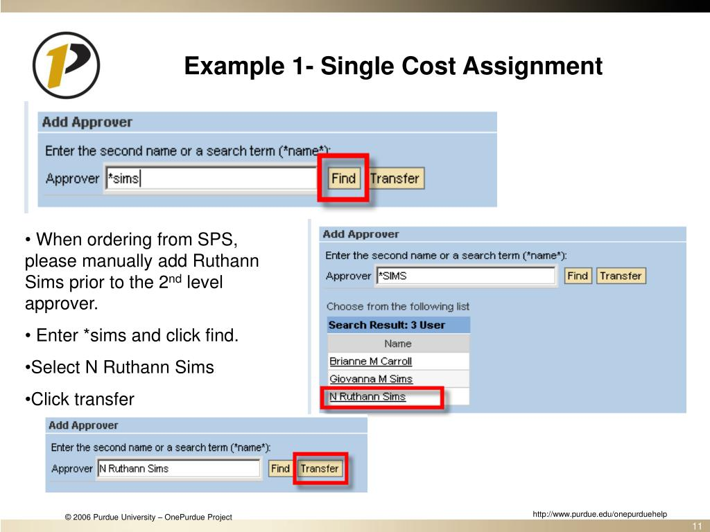 Example 1- Single Cost Assignment