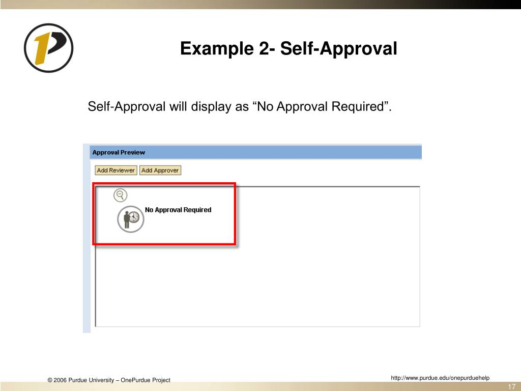 Example 2- Self-Approval