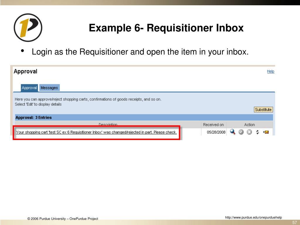 Example 6- Requisitioner Inbox