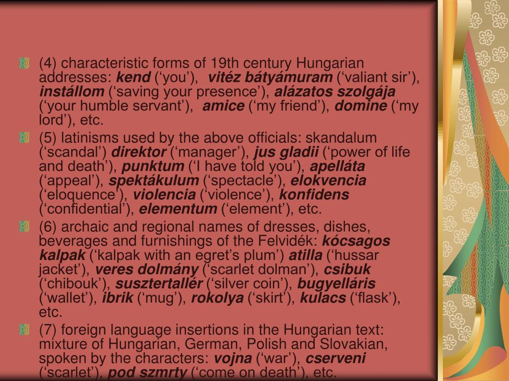 (4) characteristic forms of 19th century Hungarian addresses: