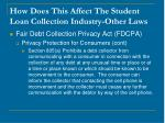 how does this affect the student loan collection industry other laws18