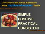 consumers need how to information about nutrition information that is