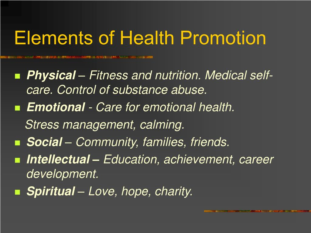 Elements of Health Promotion