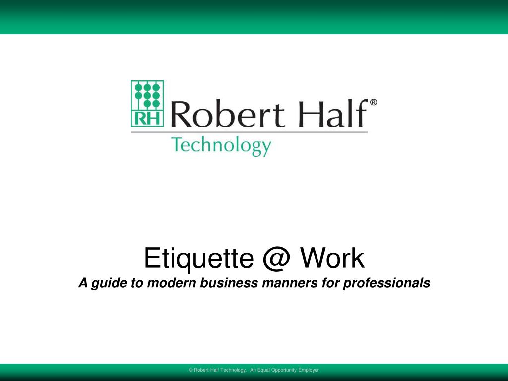 etiquette @ work a guide to modern business manners for professionals l.