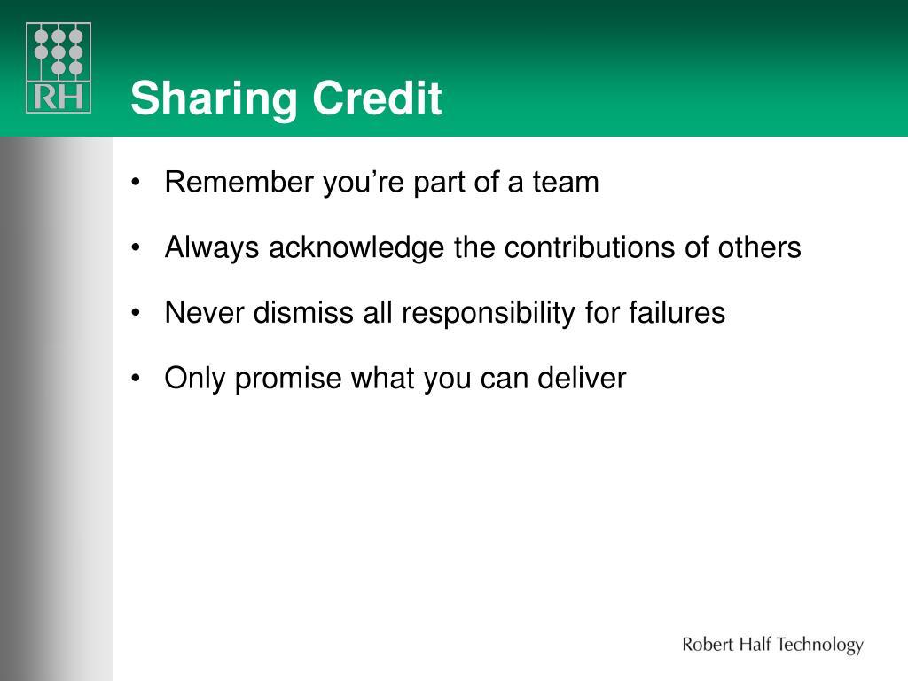 Sharing Credit