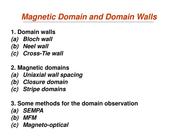 magnetic domain and domain walls n.