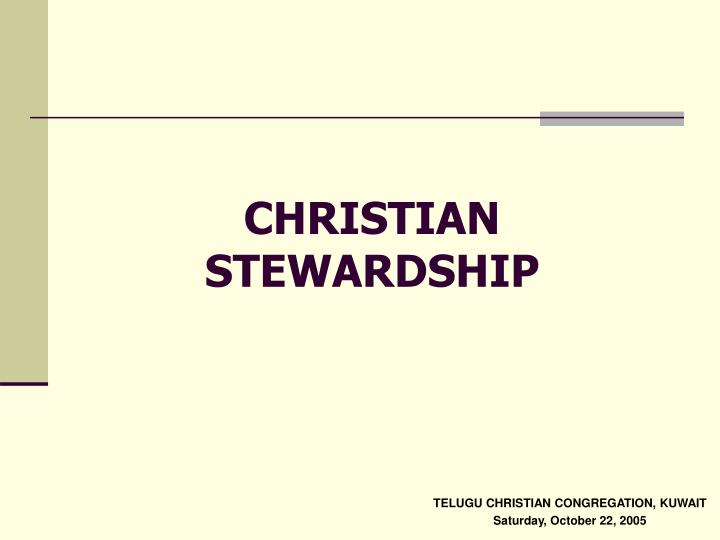 christian stewardship n.