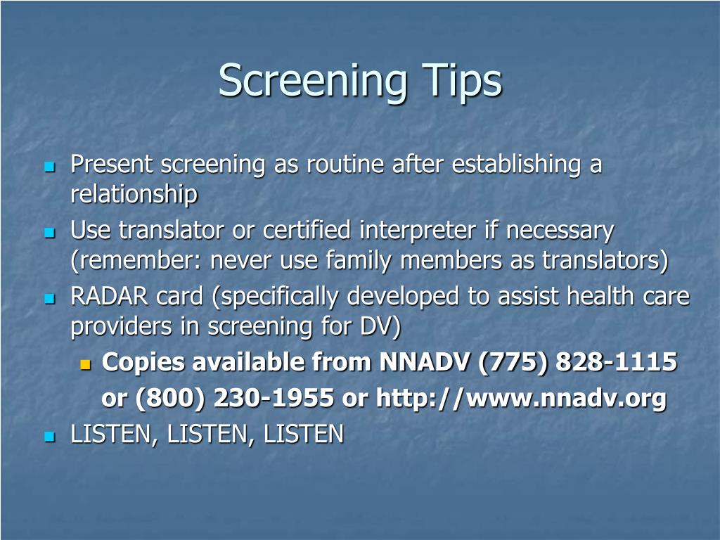 Screening Tips