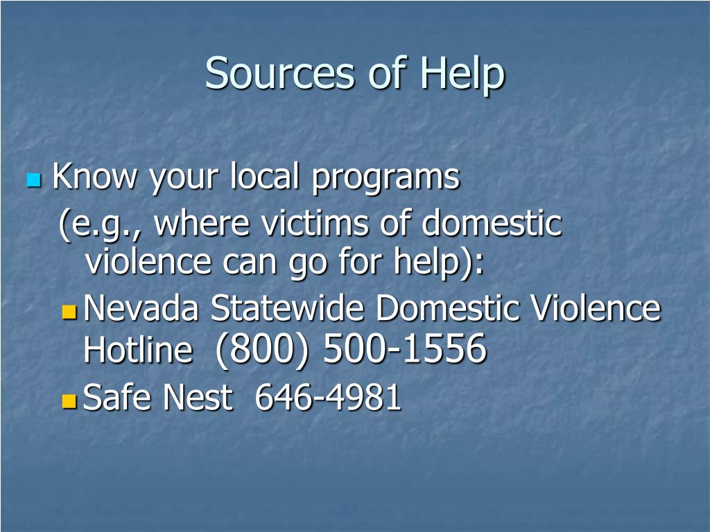 Sources of Help