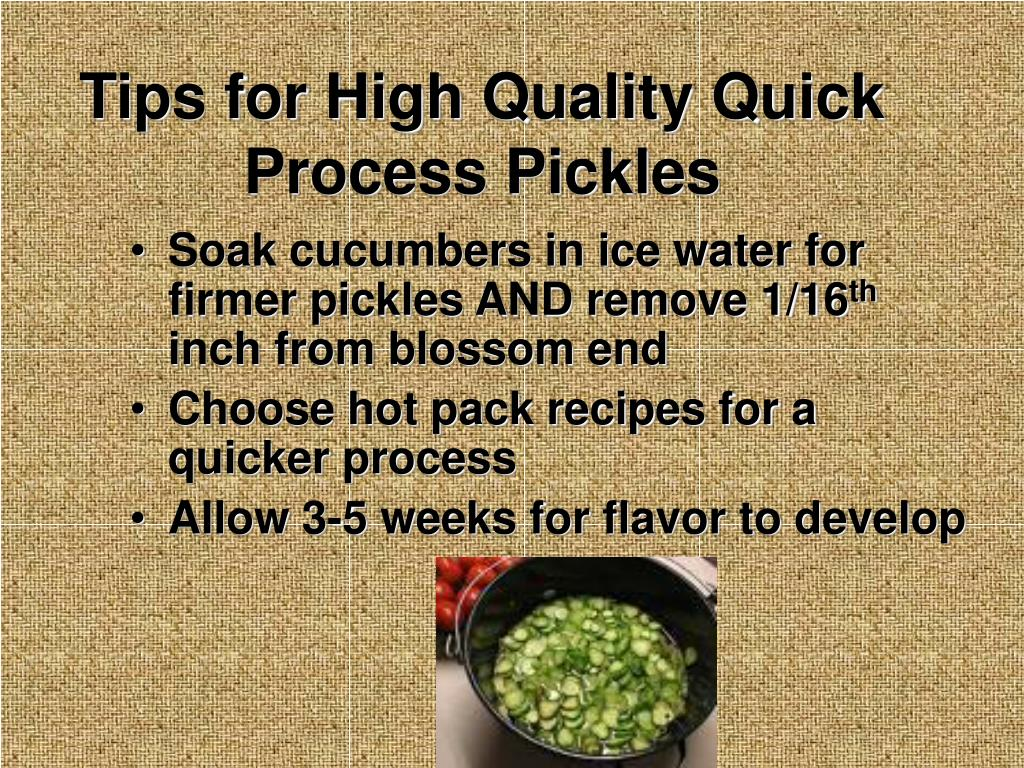 Tips for High Quality Quick Process Pickles