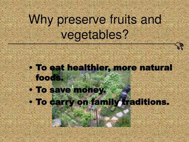Why preserve fruits and vegetables