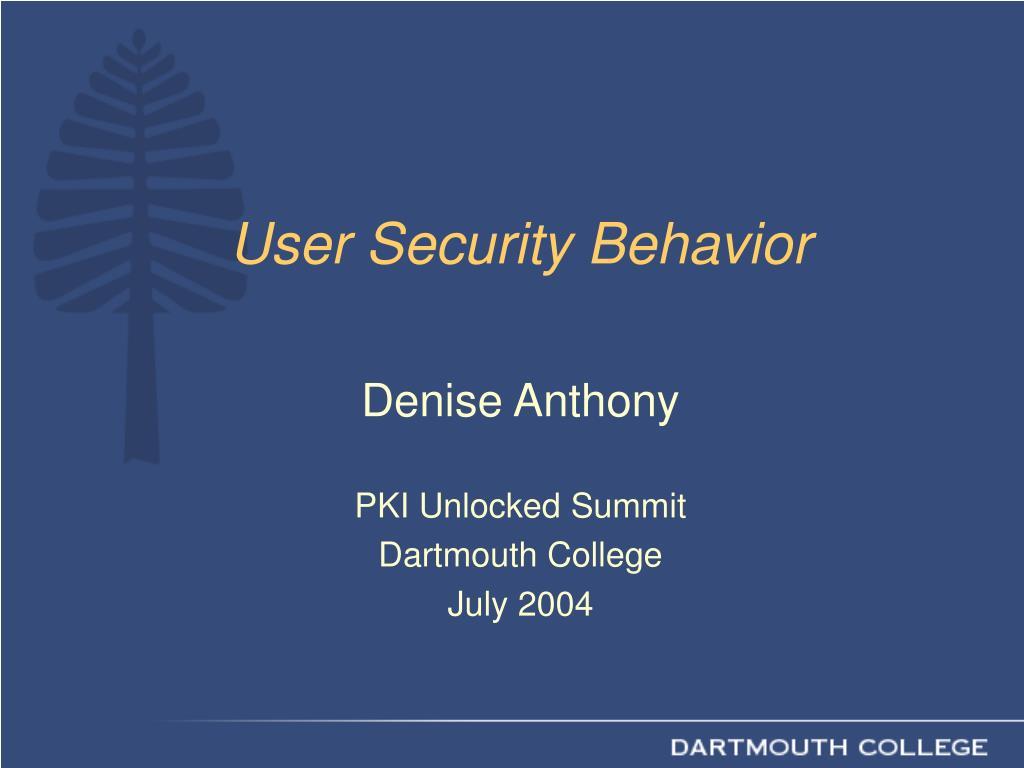 user security behavior l.
