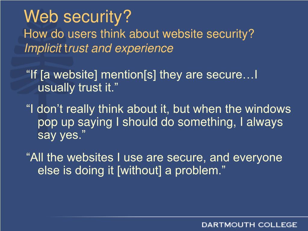 Web security?