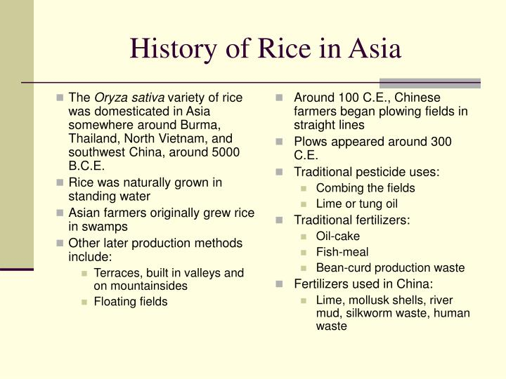 History of rice in asia