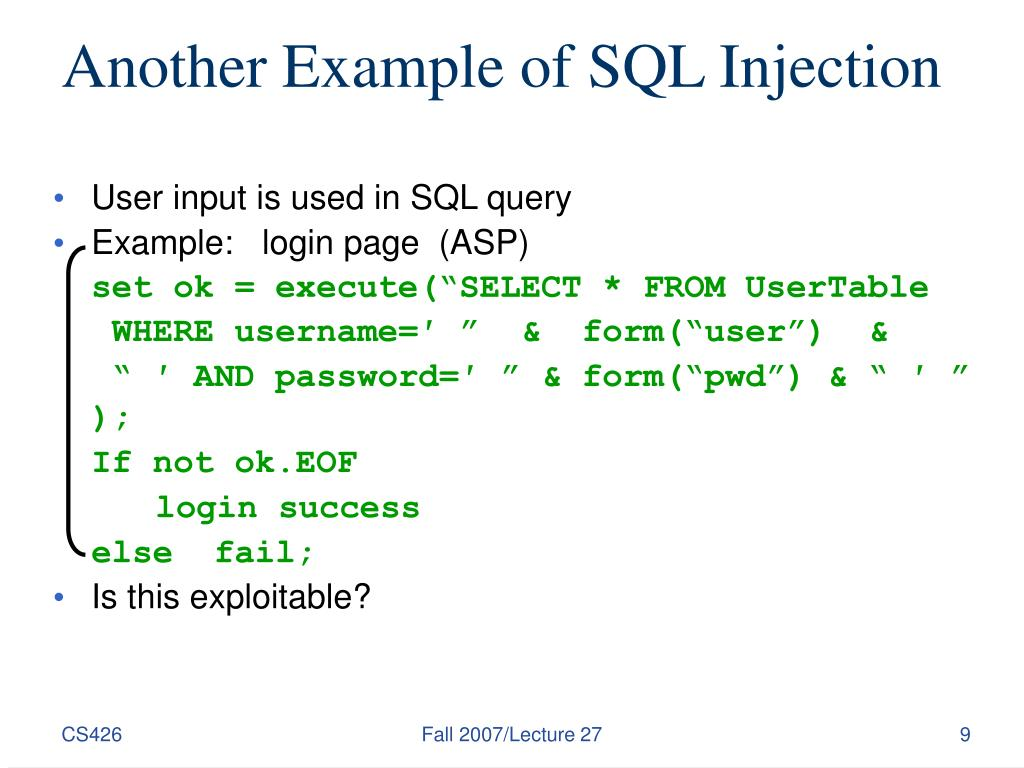 Another Example of SQL Injection