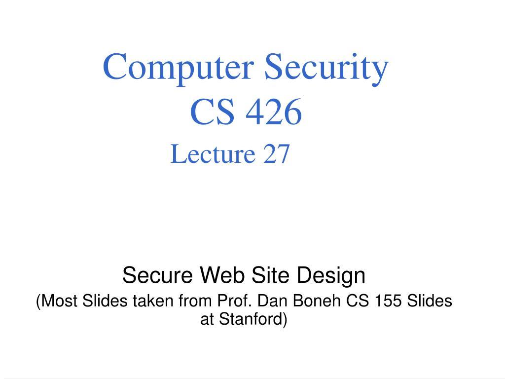 computer security cs 426 lecture 27 l.