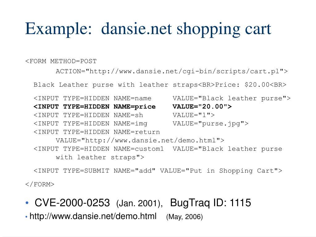 Example:  dansie.net shopping cart