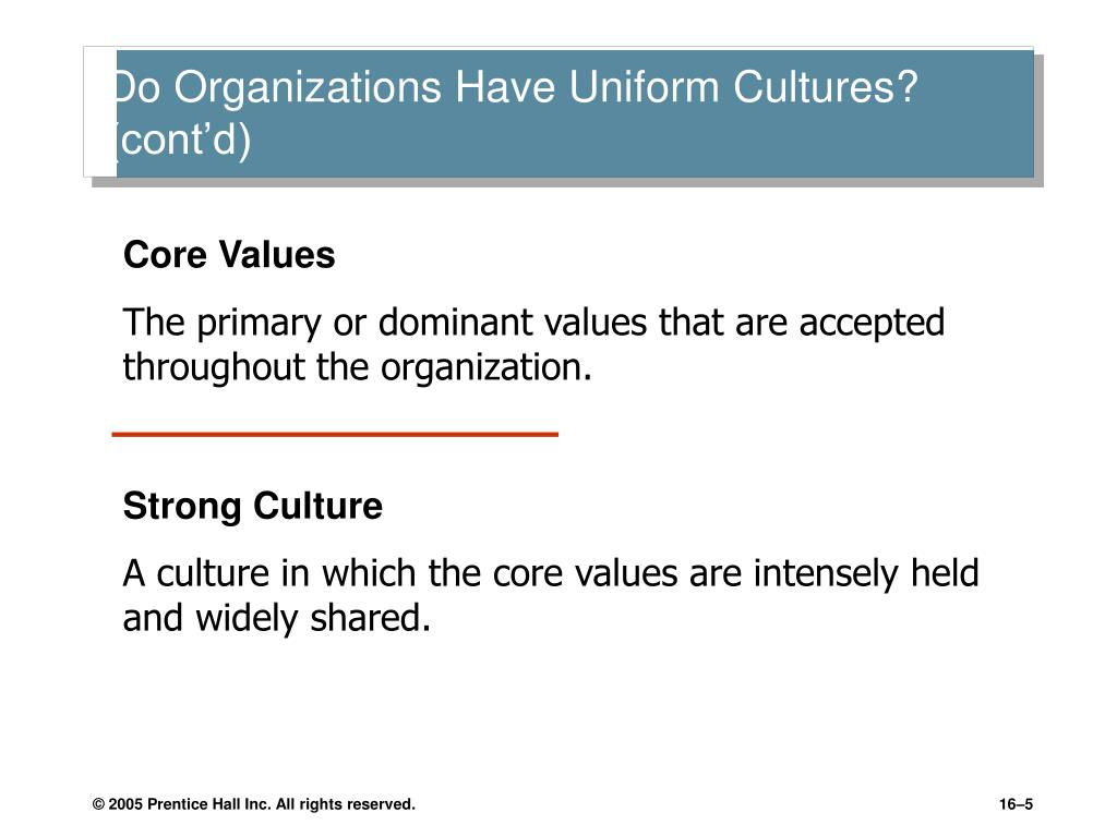 do organization have uniform cultures