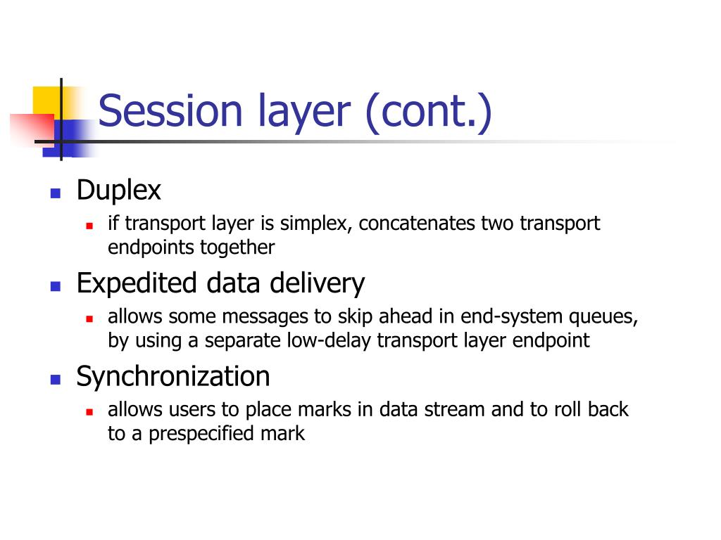 Session layer (cont.)