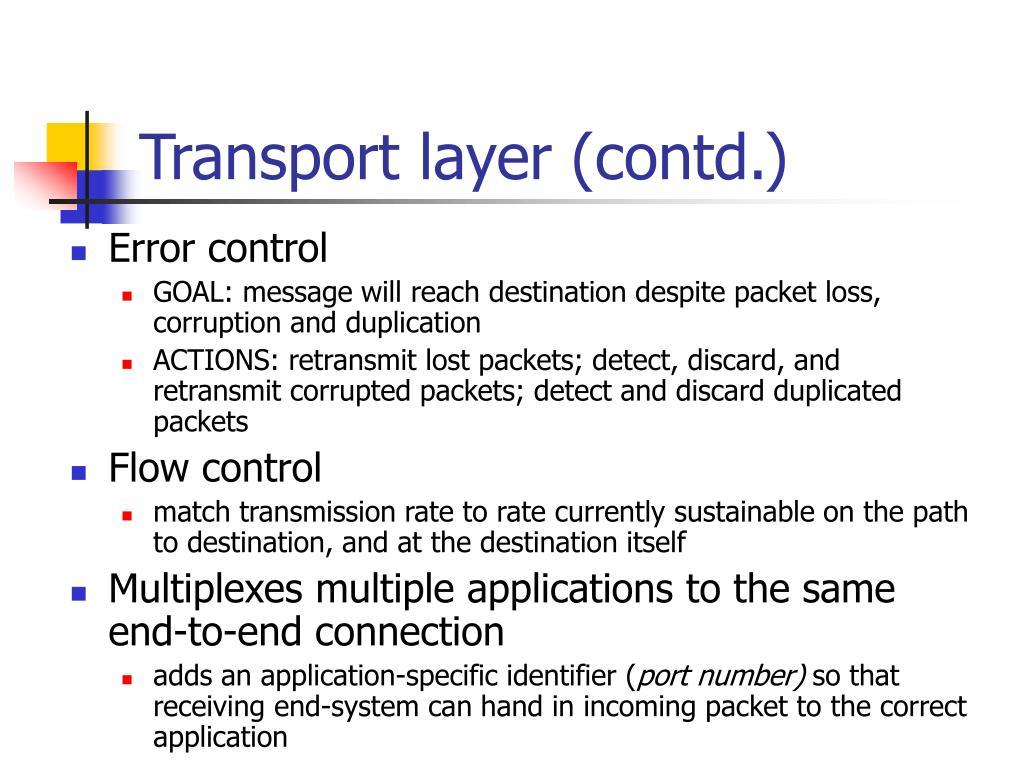 Transport layer (contd.)