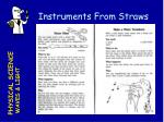 instruments from straws