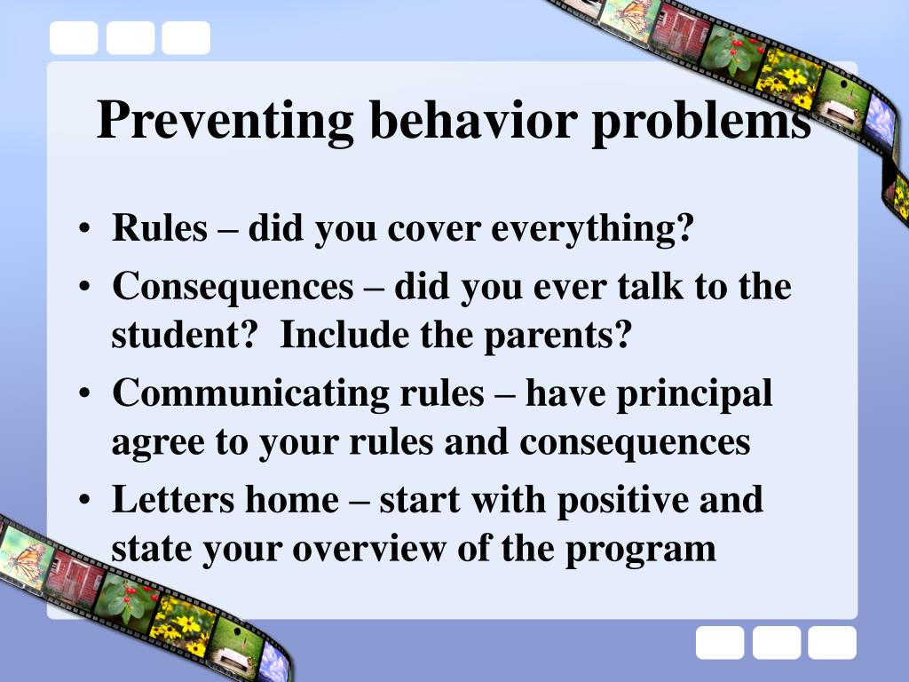 preventing behavior problems l.