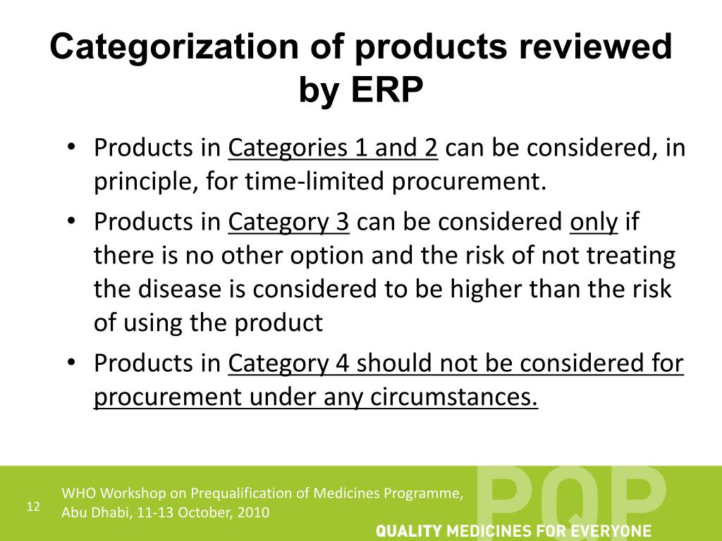 Categorization of products reviewed by ERP