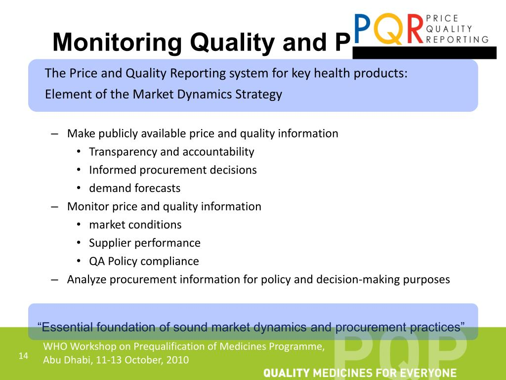 Monitoring Quality and Pricing