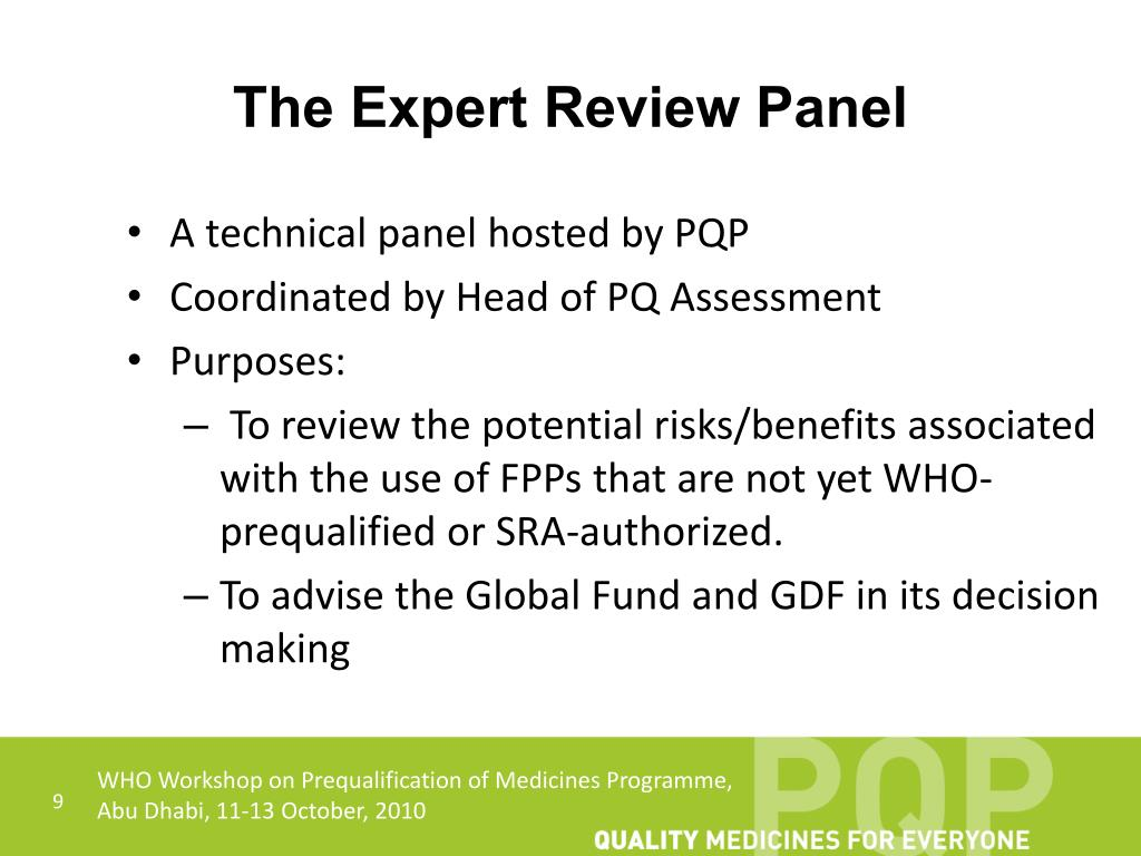 The Expert Review Panel