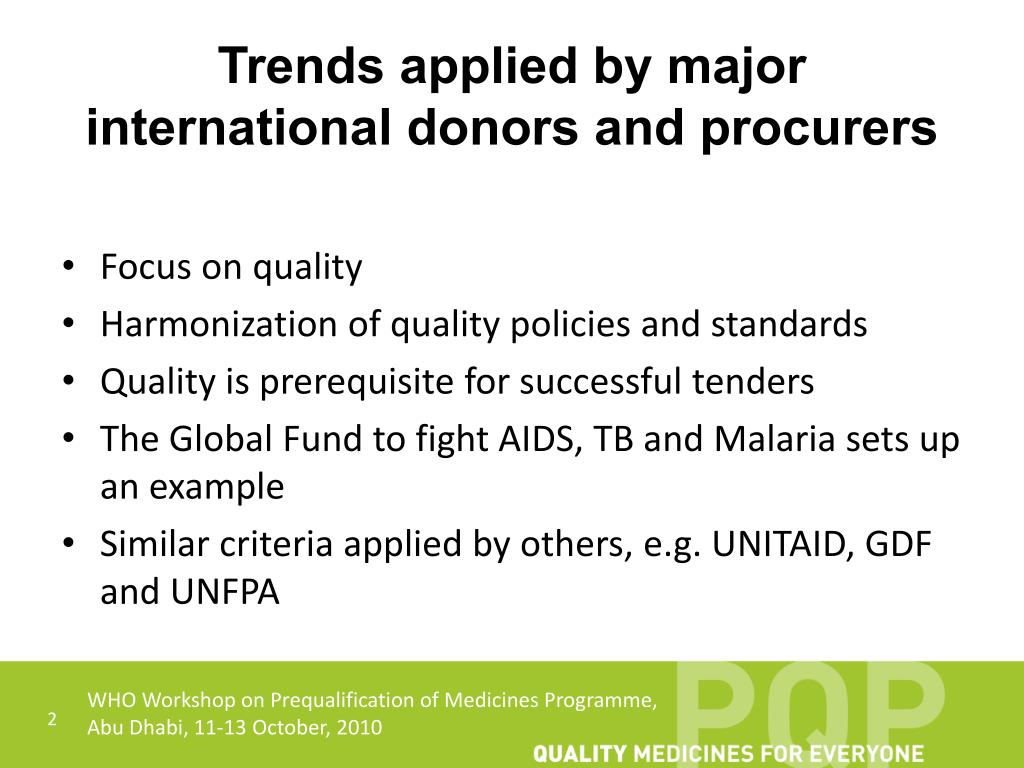 Trends applied by major international