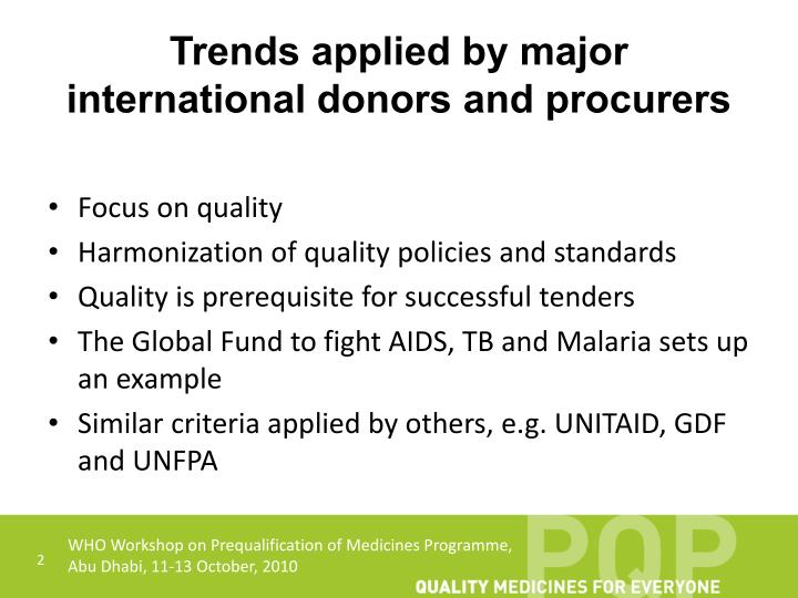 Trends applied by major international donors and procurers
