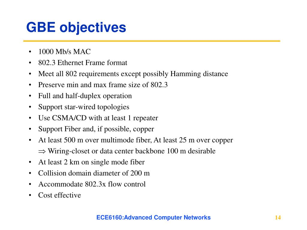 GBE objectives