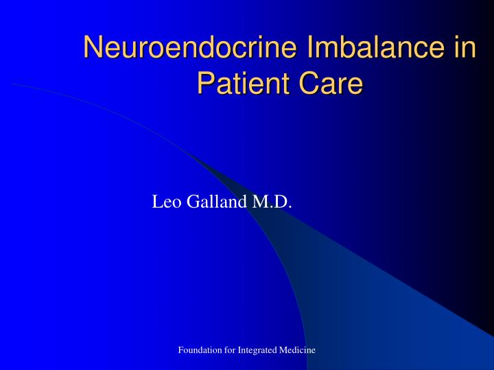 neuroendocrine imbalance in patient care n.