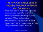 the hpa axis shows loss of negative feedback in people with depression