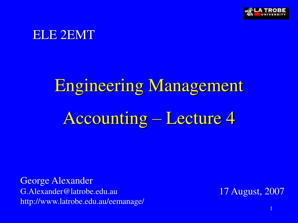 engineering management accounting lecture 4 l.