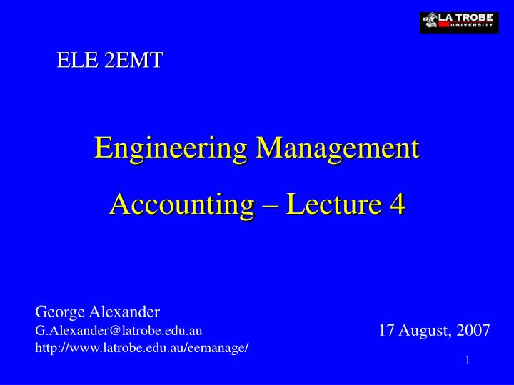 engineering management accounting lecture 4 n.