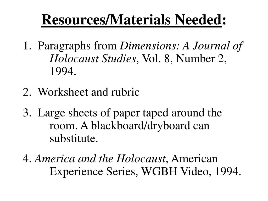 Resources/Materials Needed
