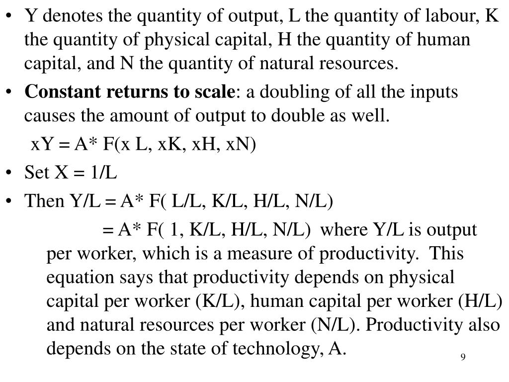 Y denotes the quantity of output, L the quantity of labour, K the quantity of physical capital, H the quantity of human capital, and N the quantity of natural resources.
