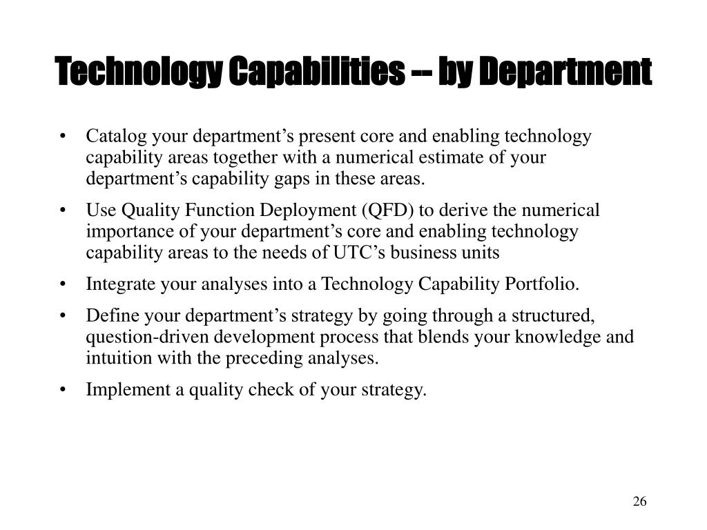 Technology Capabilities -- by Department