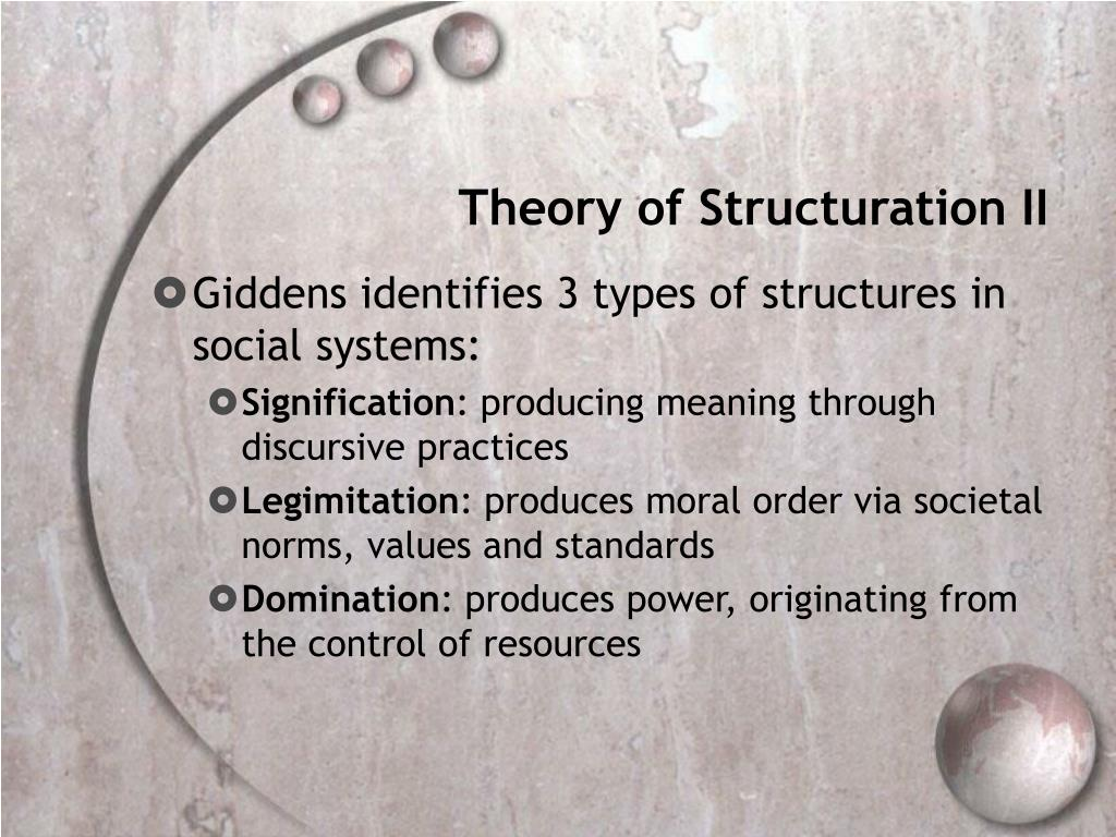 Theory of Structuration II
