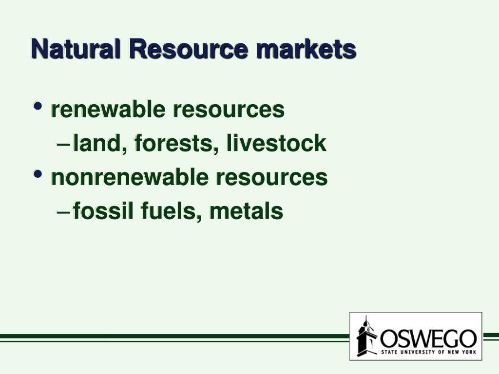 Natural Resource markets
