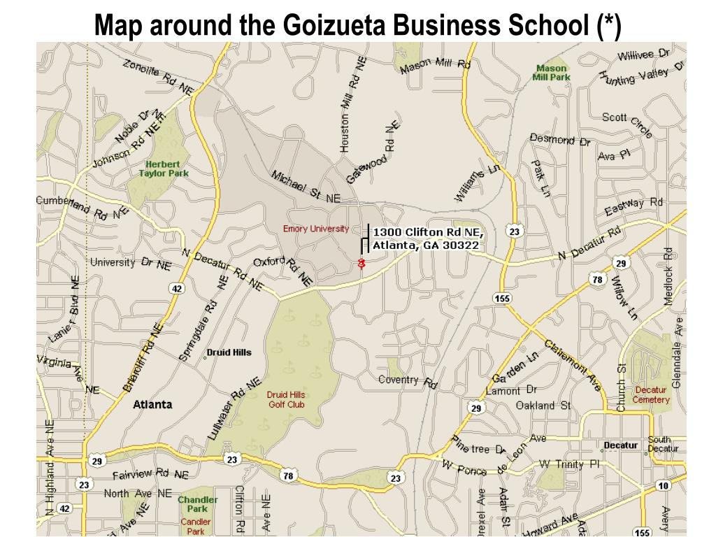 Map around the Goizueta Business School (*)