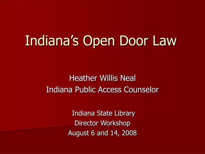 indiana s open door law n.