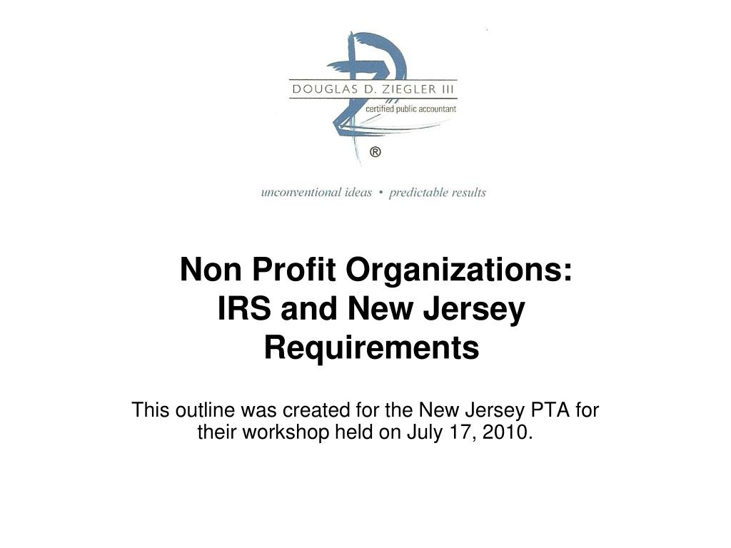 non profit organizations irs and new jersey requirements l.