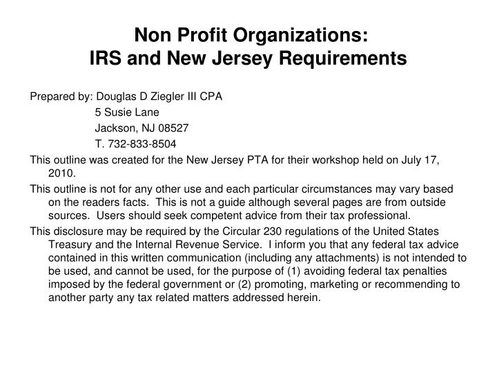 Ppt Non Profit Organizations Irs And New Jersey Requirements