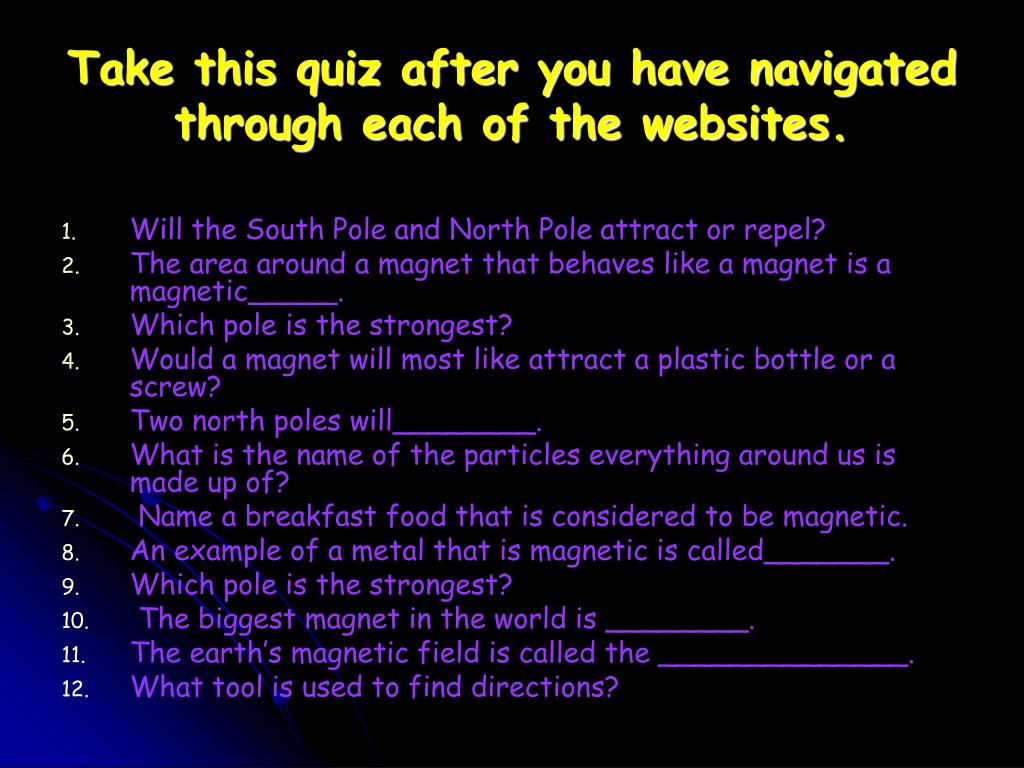 Take this quiz after you have navigated through each of the websites.