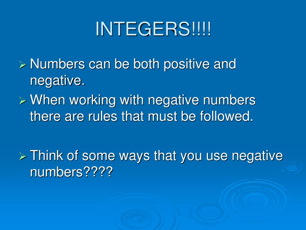 integers negative and non negative numbers and